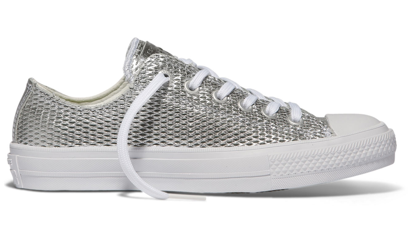 6f5b7076fe9953 Converse Chuck Taylor All Star II Perforated Metallic Leather Silver ...